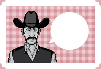 Greeting card with depressed cowboy