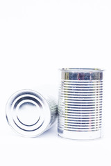 Close-up tin can isolated on white background