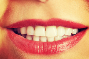 Woman's white teeth