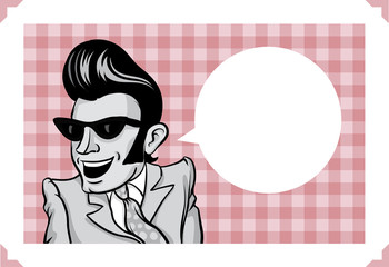 Greeting card with happy rockabilly guy
