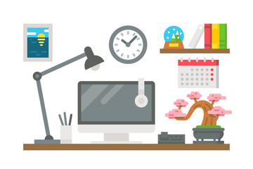 Flat design working desk decor
