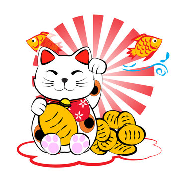 Japanese lucky cat meneki neko with gold and fish for lucky mone