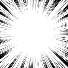 Comic book black and white radial lines background Square fight