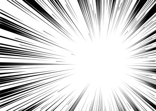 Comic book black and white radial lines background Rectangle fig