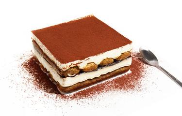 tiramisu cake and spoon, white background