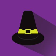 Pilgrim Hat long shadow vector icon illustration eps 10
