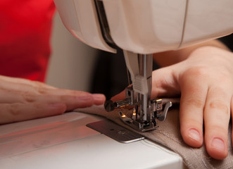 sewing on the sewing machine