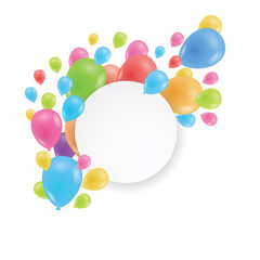 Round frame. Multicolored balloons. A realistic image.
