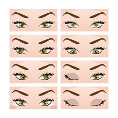 Exercises for eyes. Vector Illustration