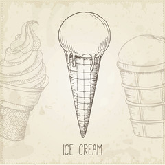 Vector hand drawn ice cream.