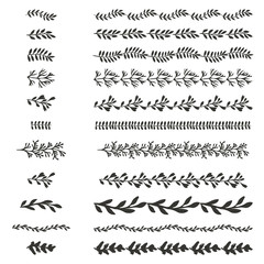 Collection of hand drawn vector brushes and decor elements.