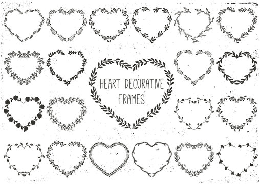 Set of laurels and wreath in shape heart.