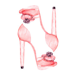 Illustration isolated pink women's shoes on the high heels. Painted hand-drawn in a watercolor on a white background.