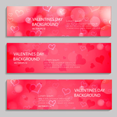 Pink heart on a red background, banners set. Happy Valentine's Day banner. White background text. Web, card, vip, banners logo, voucher, store, present, shopping, sale, exclusive, certificate, gift