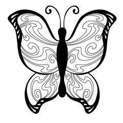 Abstract butterfly black white pattern illustration vector