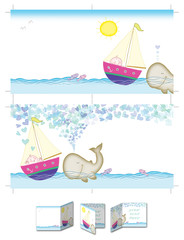 Happy boy and whale. Four pages square boy baptism invitation layout, both sides printable at size 30cm X 15cm. Cropping marks on document also.