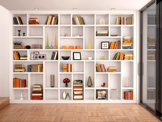 3d illustration of White shelves in the interior with various ob