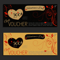 gift voucher vector coupon Valentine's Day