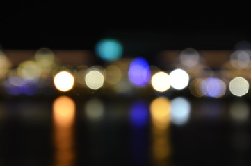 blurry of artificial light background on pier