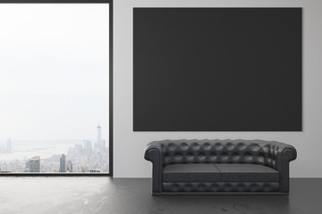 Blank black poster on the wall in loft room with black leather s