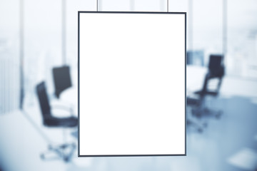 Blank white poster in conference room at sunrise, mock up