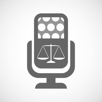 Isolated microphone icon with a justice weight scale sign