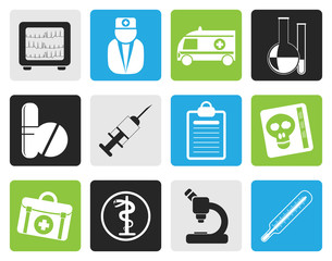 Black Medical and healthcare Icons Vector Icon Set