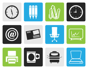 Black Business and Office tools icons  vector icon set
