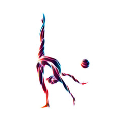 Creative silhouette of gymnastic girl. Art gymnastics with ball