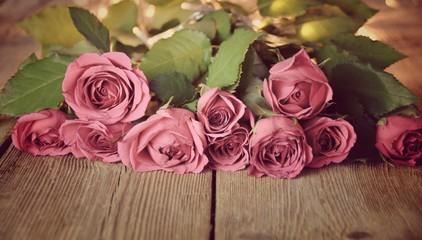 Grußkarte - Romantik - Rosenstrauß