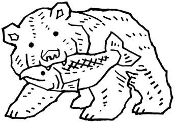 木彫りの熊 モノクロ