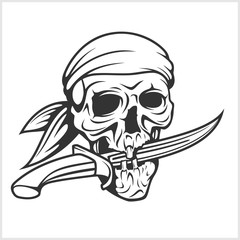 Pirate Skull in Headband with Sword