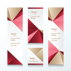 Triangle Vertical Banner Brown, Pink, Red