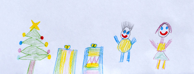 Children's drawing, Christmas tree and gifts