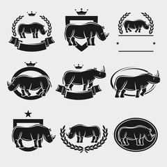 Rhinoceros label and icons set. Vector
