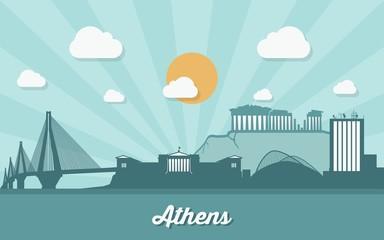Athens skyline - flat design