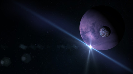 Planet and Moon in space