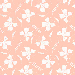 Vector seamless pattern with butterflies and floral elements.
