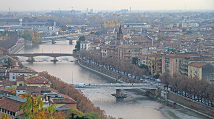 Printed roller blinds Eastern Europe aerial view of Verona, Italy