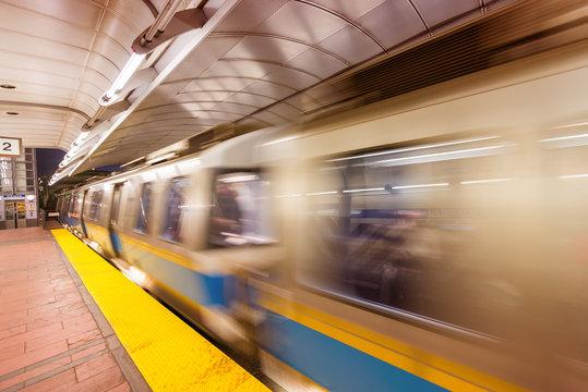 Subway train speeding up, Boston