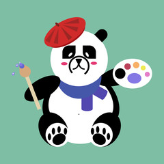 Panda Bear artist with brush and palette of paints. flat vector icon