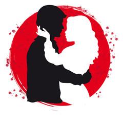 Profili di due Innamorati su Sfondo Colorato