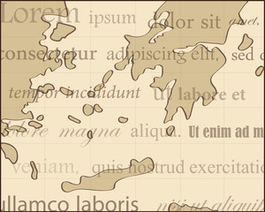 ancient map with brown background and lorem ipsum text