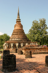 Wat Sorasak elephant Pagoda Shukhothai Historical Park Thailand