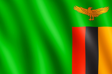 Flag of Zambia waving in the wind