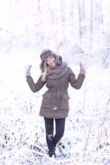 Winter beauty. Beautiful, young and smiling girl