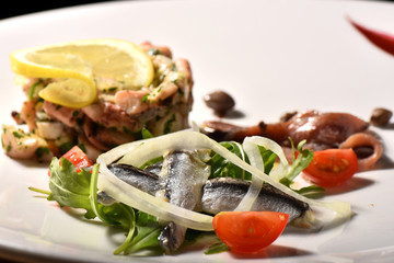 Fine dining seafood appetizer with Anchovies and octopus salad
