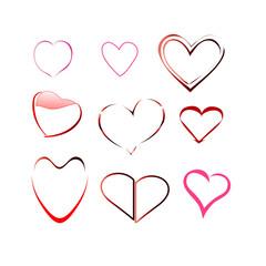 Heart valentine vector icon set