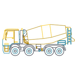 Blue yellow outline heavy concrete mixer builds. Nice icon - Digging of sand, coal, waste rock and gravel. Blue illustration flatten master vector equipment element Digger Crane Roller Extravator
