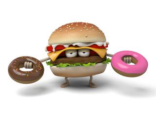 The 3d hamburger and doughnut
